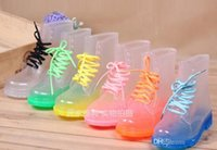 Wholesale 2015 PVC Transparent Womens Colorful Crystal Clear Flats Heels Water Shoes Female Rain boot Martin Rain Boots