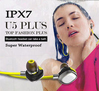 Wholesale Super IPX7 Waterproof Headphones U5 Plus Bluetooth NFC Earphone Sports Stereo Headsets Running Swimming Shower Hifi Music Player Support APP
