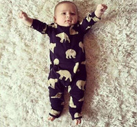 baby bear rompers - 2016 Spring Ins Baby newborn Infant Rompers Polar Bear Printed Kids Cotton Overalls Jumpsuits Boys Girls Baby One piece Romper Black