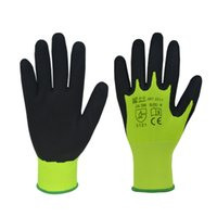 Wholesale Black microfinish double dipped latex coated gloves GLT317HV