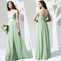 Reference Images A-Line Spaghetti Lime Green Aqua Bridesmaid Gowns Dresses A Line New Hot Chiffon Empire Long Cheap Ruched Spaghetti Straps Floor Length Evening Prom Dresses