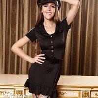 baby garter - Sexy Policewomen Lingerie Uniform Temptation Fashion Black Button Women Dress With Garters Club Role Play Performance Baby Dolls