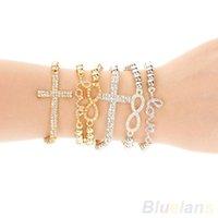 Wholesale Hot Fashion Women s Crystal Rhinestone Cross Love Infinity Stretch Beaded Bracelet Gift WJ