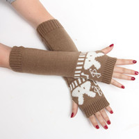 Wholesale fashion high quality hand knitted half fingers warmer long gloves for women female fashion arm warmers