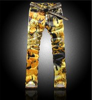 Wholesale New Hot Men s jeans colored drawing jeans slim flower elastic pants personalized holy Mary print denim jeans