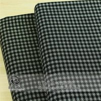 Wholesale Korea imported high end custom fabric sanding random pattern of black and white plaid cotton stretch fabric geometric patterns
