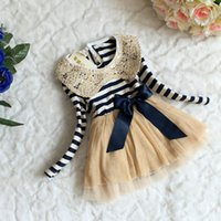 Wholesale 2015 Summer Kids Dress Hot Selling Spring Striped Sequined Collar Lace dress fashion princess girls dress TZ0049