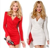 Wholesale Cheap Women Flare Dress - S-XL 2015 Cheap V neck Bandage Party Dresses White Red Long Sleeve Spring Autumn Winter Casual Pencil Bodycon Vestidos Plus Size Women Dress