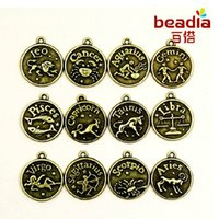 zodiac charms - 120pcs Round Charms New Assorted Constellation Signs of Zodiac Vintage Bronze Pendant Fit Jewelery and Necklace ZH BJI003