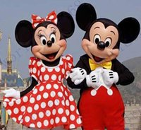 best couples costumes - Couple Mickey Minne Mouse Cartoon Mascot Costume school mascots character Men s costumes High Quality best price