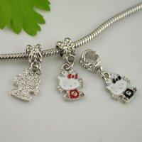 Wholesale Interesting Mixed Color Cute Bow Hello Kitty Crystal Enamel Dangle Charm European Beads Fit Bracelet