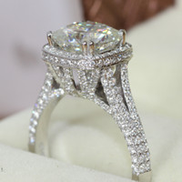 FG THE QUEEN RING! Charles&Colvard Brand 2.8 Cushion Cut Moissanite 14k  White Gold Halo Engagement Ring Test Positive
