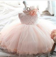 al por mayor tutús de encaje blanco-2016 Los niños bastante vestido de la princesa del cordón del verano del vestido del tutú con la ropa del bebé del Bowknot blanco rosado C286