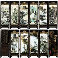 Wholesale Chinese Vintage Landscape By Zhang Daqian Wooden Lacquer Pieces Folding Screen