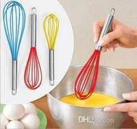 Wholesale Ship Free Wire Whisk Stirrer Mixer Hand Egg Beater COLOR SILICONE EGG WHISK STAINLESS STEEL HANDLE quot