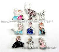 Cheap 10pcs Mix style frozen characters Floating Charms FC492 Fit Charms Locket Memory Living Magnet Glass Floating Locket Free shipping