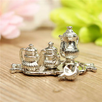 Wholesale Dollhouse Miniature Toy A Silver Teapot With Lid Kitchen Dining Room Decor Set