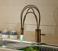 antique porcelain basin - Antique Brass LED Basin Faucet Single Handle White And Blue Porcelain Base Mixer