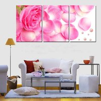 beautiful pet pictures - 3 Panel Hot Sell Modern Wall Painting Home Decorative Art Picture Paint on Canvas Pure hand painted Beautiful pink roses and pet