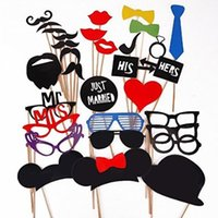 Wholesale 31 Funny Photo Booth Props with lips moustaches glasses Cute fashion for wedding party brithday party Christmas Party Supply Decorations