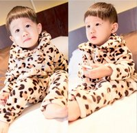 Cheap Baby Boys Girls Winter Pajamas Flannel Leopard Cardigan+Pants Winter Warm Girls Homewear Children Wear 2pcs Sets Kids Clothing Beige K2738