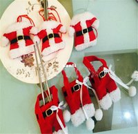 Wholesale New Arrive Set Handmade Mini Clothes Pants Shaped Christmas Santa Claus Cultery Suit Silverware Holder Knives Forks Pockets Gift