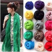 Wholesale 1PCS Fashion Promotion Solid Linen Fold Super Long Big Shawl Women Sexy Fashion Cheap Multicolor Punk Scarf Scarves Wraps X180cm