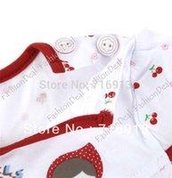 Cheap 3pcs lot Sweet Cut Baby Short Sleeve Dress Cherry Print Girl Princess Loose Baby casual Dress Clothes 3 Sizes 2 Colors 14364