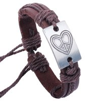 ad bangles - Factory Love peace sign Handmade Bracelet personality Pi Shipin ad made genuine leather bracelet made of genuine leather Valentine