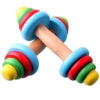 baby basketball toy - Adjustable Child Baby Fitness Multi colored Wooden Dumbbell Toy Sports