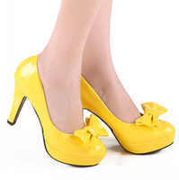 lady leisure shoes - New Popular Yellow With Bow Tie Leather Shoes Fashion Leisure Lady Business Prom Shoes Breathable Shoes DY