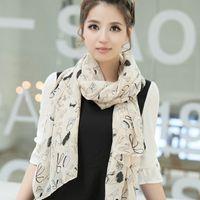 Wholesale winter heels lipstick scarf chiffon long scarf scarf cute graffiti