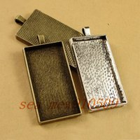 antique copper trays - pieces To fit MM rectangle cabochon antique bronze plated vintage style alloy pendant tray jewelry settings hd1369