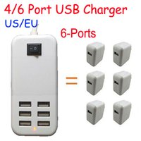 Wholesale 4 Ports USB Travel Charger AC W W USB Desktop Charger Adapter Wall Charger US EU Plug with Cable for Smart Phone Tablet PS4