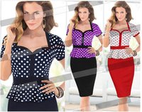 Wholesale Office Vintage Tunic Summer dress women Elegant Polka Dot Ruched cocktail Bodycon Shift Pencil party Midi Dress DK3005MX