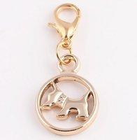 animal charms - 20pcs Rose Gold Lovely Animal Dog Dangle Pendant Charms For Memory Living Floating Locket