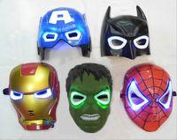 Wholesale lighting American superhero party Mask Batman Hulk Captain SpiderMan mask glow Flash children mask Halloween brazilian carnival Mask