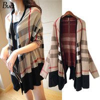 Wholesale Jumper Long Cardigan Fashion Women Capes Long Sleeve large size V neck Plaid Knitted Cardigans Wool Sweater