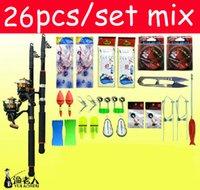 Wholesale 26 piece set m lightweight steel fishing pole Pen rods fish Reels Stoppers Rainbow float Fishhooks Combination Accessories