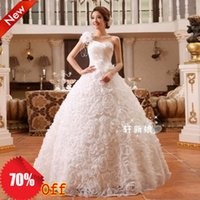 Wholesale 2015 Designer One Shoulder With Ruffles Flower A line White Ball Gown Princess Wedding Dresses Floor Length Bridal Gown