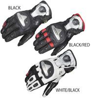 achat en gros de cuir xxl gants de course de moto-2016 Nouveau alliage de titane KOMINE moto moto gants de course en cuir équitation gants GK-166 noir blanc taille de couleur rouge M L XL XXL