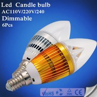 Wholesale 6pcs Led Light E14 Candle E27 E12 B22 W W W AC V V High Power Led Dimmable Candle bulb led lamps lighting chandelier bulbs light