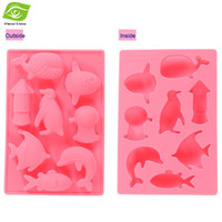 ice fishing - 1PC Creative Animal Cake Molds Fish Dolphins Whales Chocolate Molds Cute Silicone Ice Mold dandys