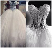 pearl bead ball - Luxurious Bling vestido de noiva Corset Bodice Sheer Ball Gown Wedding Dresses Beads Rhinestones Tulle Crystal Pearl Bridal Wedding Dress