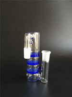 ashes blue - 2016 new glass bongs water pipe Blue Glass Ash Catcher with three layer honeycomb disk perc mm