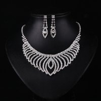 asian hair pieces - Fashion Newest Three piece Bridal Accessories Tiaras Hair Necklace Earrings Accessories Bridal Wedding Jewelry Sets Married Accessories Kit