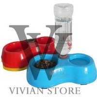 automatic pet water fountain - Dual Port Dog Automatic Water Dispenser Feeder Utensils Bowl Cat Drinking Fountain Food Dish Pet Bowl