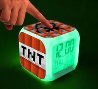 Wholesale retail Minecraft alarm clock frozen alarm clock LED Colors Change Digital Alarm Clock Night Colorful Changing clock