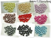 Wholesale 8MM bag bags Mixed colour simulated ABS pearls beads DIY jewelry beadwork accessories