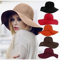 Wholesale 2015 New Fashon Style Soft Women Vintage Retro Wide Brim Wool Felt Bowler Fedora Hat Floppy Cloche Sun Hats Colours For Women Hat